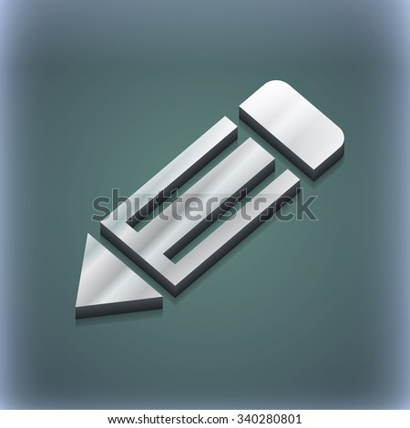 pencil icon symbol. 3D style. Trendy, modern design with space for your text illustration. Raster version - stock photo