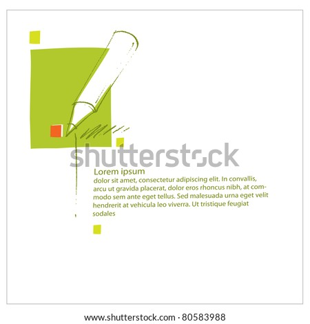 Pencil icon, universal pre-made page layout, simple design (blank text)  (raster version) - stock photo