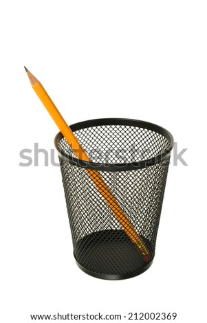 Pencil in black metal container on a white background