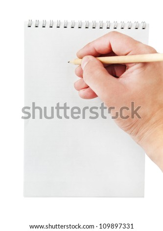 Pencil in hand writing on the notebook, isolated on white