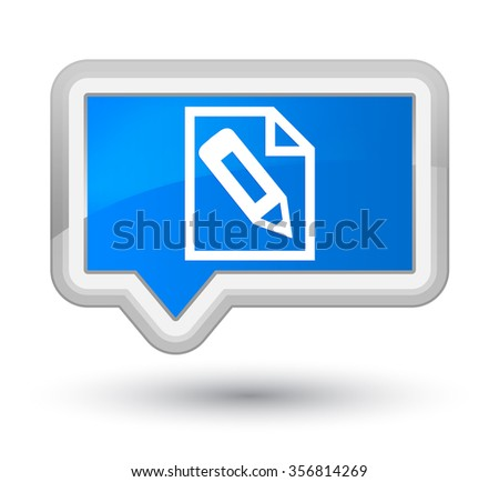 Pencil in page icon cyan blue banner button