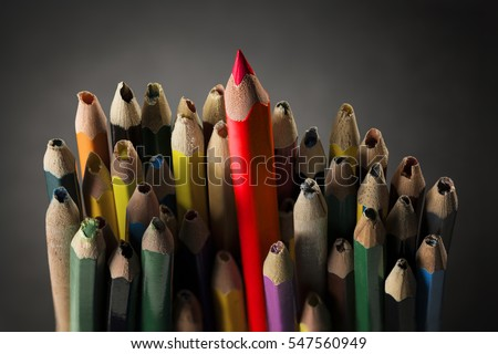 Pencil Inspire Concept, Sharp Creative Idea in Crowd Used Broken Pencils without Imagination, Closeup