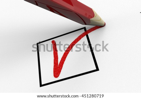 pencil is voting a ballot, isolated on white, 3d illustration - stock photo