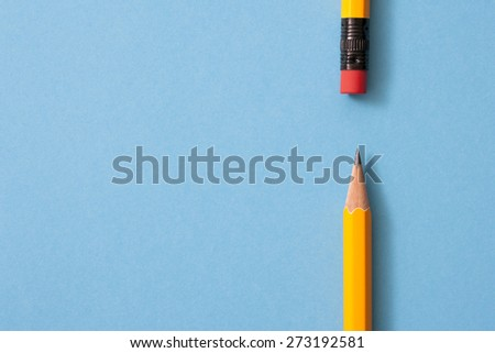 pencil isolated on blue background  - stock photo