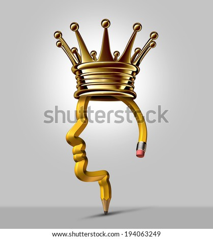 Pencil king and creative leader business and education symbol as a writing tool shaped as a human head wearing a gold crown as a symbol and concept for innovation leadership and successful creator. - stock photo