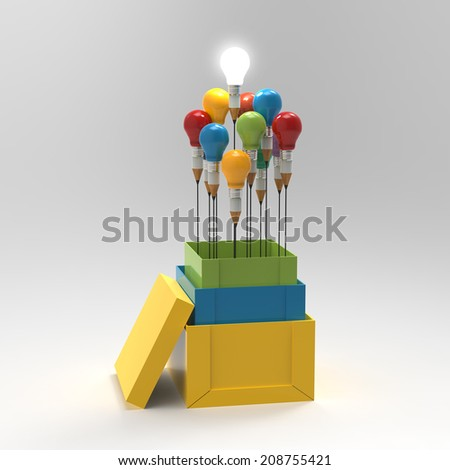 pencil light bulb 3d as think outside of the box and leadership as concept