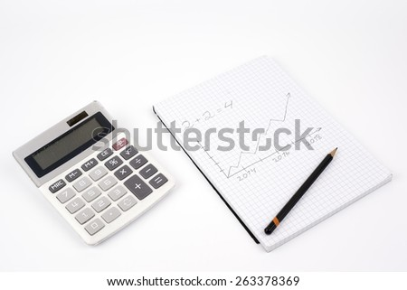 Pencil, notebook and calculator on a white background. - stock photo