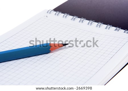pencil notebook on white
