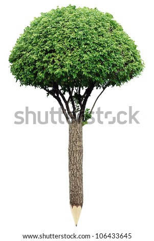 Pencil of wood material with fresh leaves. Green planet concept - stock photo