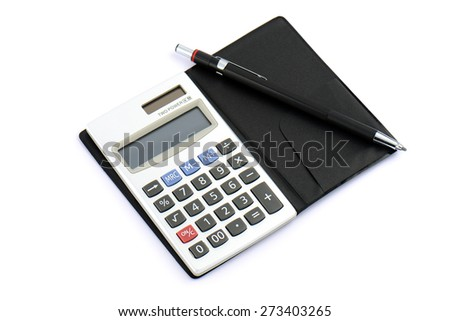 pencil on calculator isolated on white - stock photo