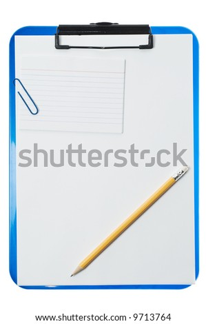 Pencil on clipboard isolated on a white