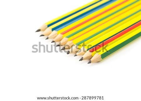 Pencil on white background - stock photo