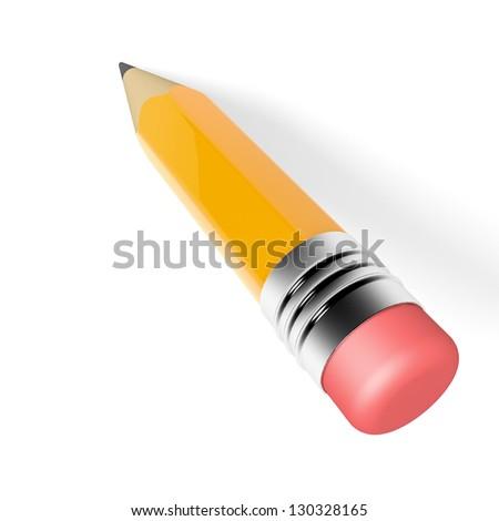 Pencil on white background. 3D illustration. - stock photo