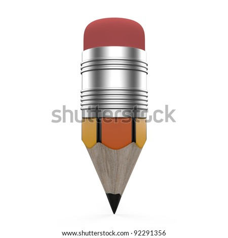 Pencil on White Background. This is a 3d render illustration - stock photo
