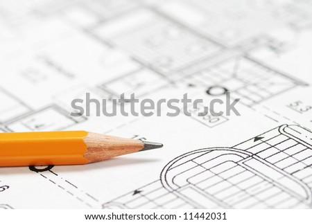 Pencil over house plan blueprints - stock photo