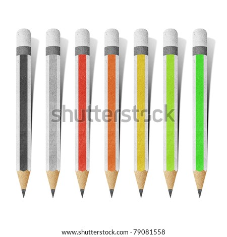 pencil paper craft stick on white background - stock photo