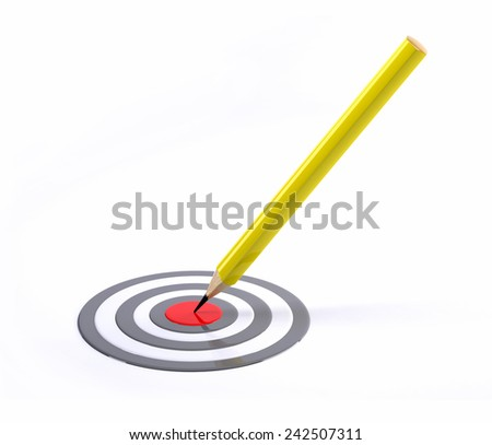 Pencil pointed to center of target, 3d illustration - stock photo