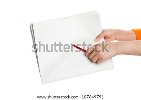 pencil pointing Blank Newspaper with white background