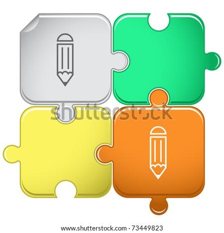 Pencil. Raster puzzle. Vector version is in portfolio. - stock photo