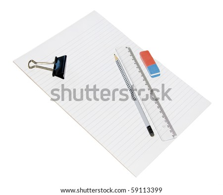 Pencil, ruler, and eraser holder on a sheet of white lined paper. Isolated.... - stock photo
