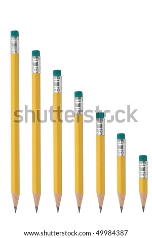 Pencil series isolated on pure white - stock photo