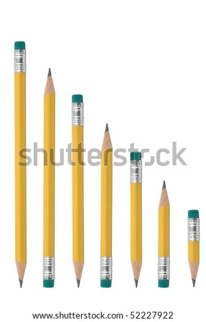 Pencil series isolated on pure white
