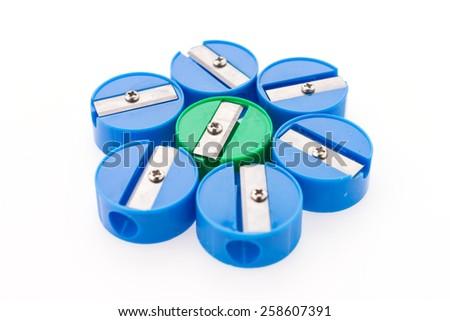 Pencil sharpener isolated on white background - stock photo