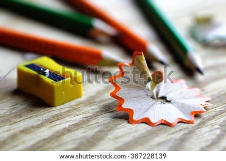 pencil sharpener trash wood - stock photo