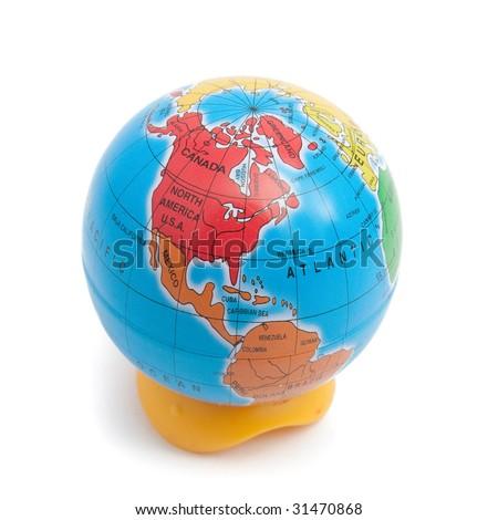 Pencil sharpner as earth globe isolated - stock photo