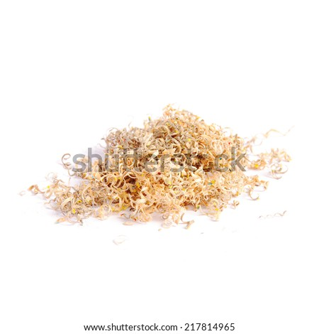 Pencil shavings on white background - stock photo