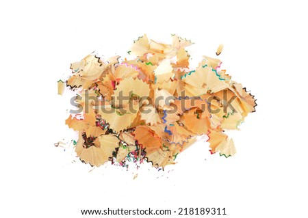 Pencil shavings on white background. - stock photo