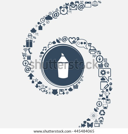 Pencil sign icon. Edit content button in the center. Around the many beautiful symbols twisted in a spiral. You can use each separately for your design. illustration - stock photo