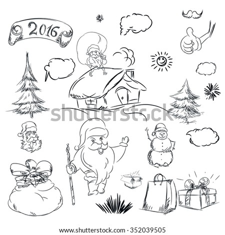 Pencil sketch for christmas with christmas tree and house. Hand drawn scribble shapes, santa claus, package, gift and other things. A set of doodle line drawings. Raster new year design elements - stock photo