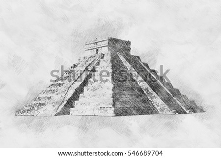 Pencil sketch mayan pyramid close up imitation hand drawn pictures art concept