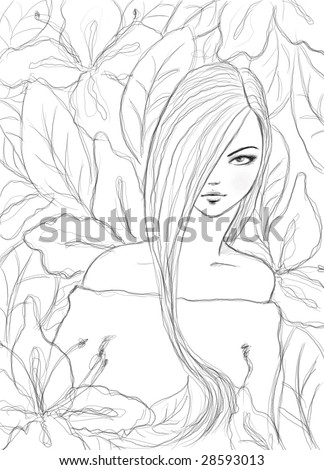 pencil sketch of a nice girl against floral background