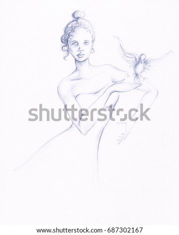 Pencil sketch of dancing innocent girl figure with white dove