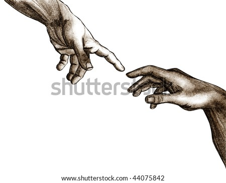 Pencil sketch of God and Adam's hands from the Sistine Chapel ceiling. - stock photo