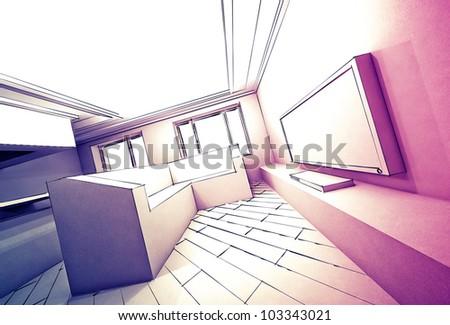 Pencil sketch of interior design in shades of gray - stock photo