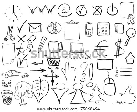 Pencil sketches of most popular business things. Isolated on white - stock photo