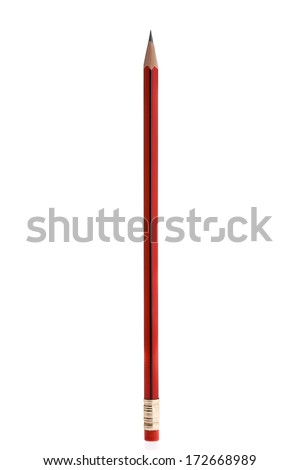 Pencil standing in upright position with small reflection. On white background. - stock photo