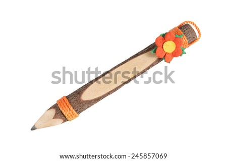 pencil stylized tree branch isolated on white background - stock photo