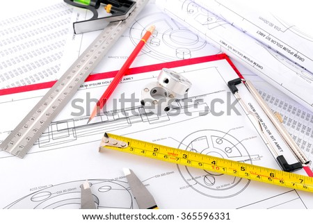 Pencil, Vernier caliper, Ruler, Spare parts and Measuring tape on plans