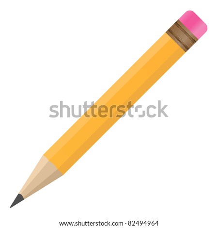 Pencil with Eraser - stock photo