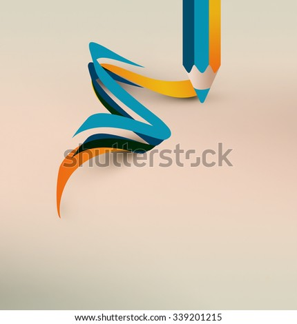Pencil with flat waves and lines on light background