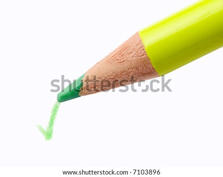 Pencil writing a green check mark on a white sheet of paper without shadow