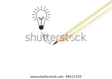 Pencil  writing? bulb idea isolated on white background.