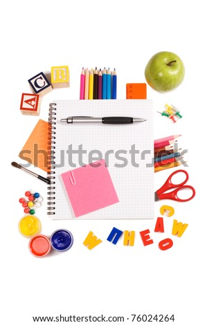 Pencils and apple - concept school isolated - stock photo