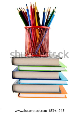 pencils and books on a white background - stock photo