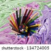 pencils and crayons on a abstract background - stock photo