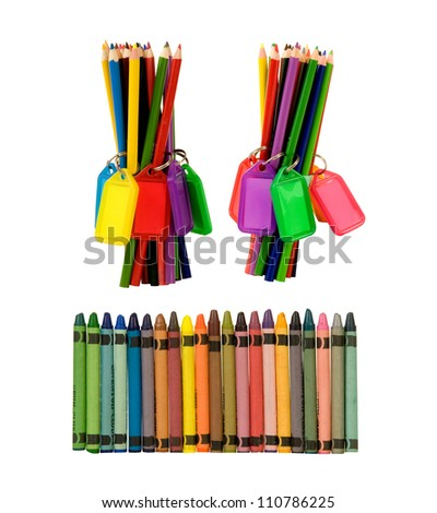 pencils and crayons ready for the artist! on a white background - stock photo